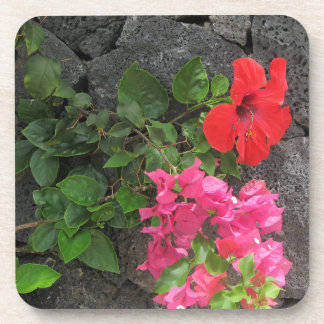 Lanzarote Lava Rock with Flowers Beverage Coaster