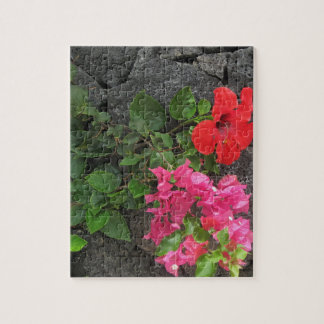 Lanzarote Lava Rock with Flowers Jigsaw Puzzle