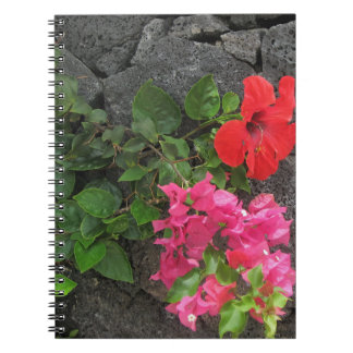 Lanzarote Lava Rock with Flowers Notebook