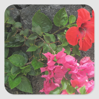 Lanzarote Lava Rock with Flowers Square Sticker