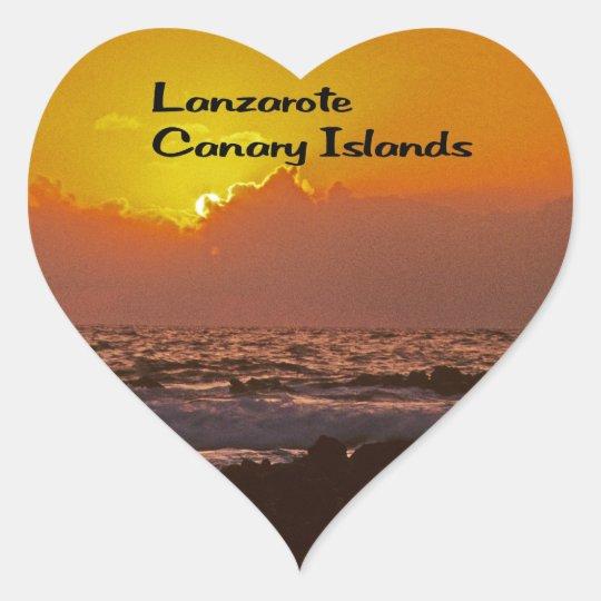 Lanzarote Sunset Heart Sticker
