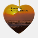Lanzarote Sunset Double-Sided Heart Ceramic Christmas Ornament