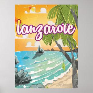 lanzarote vintage travel poster cartoon