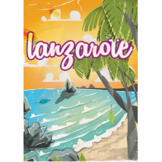 lanzarote vintage travel poster cartoon cutout