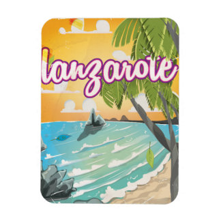 lanzarote vintage travel poster cartoon magnet