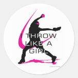 Lanzo como un softball del rosa del chica etiqueta redonda