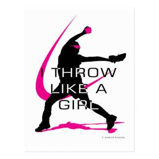 Lanzo como un softball del rosa del chica postal
