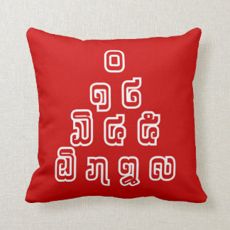 Lao / Laos Numbers Pyramid Laotian Language Script Throw Pillow