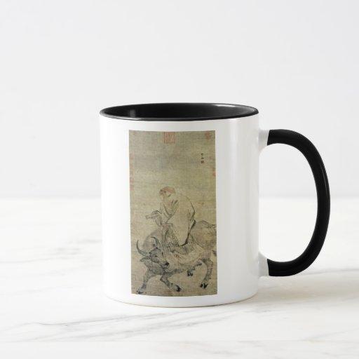 Lao-tzu que monta su buey, chino, dinastía de Ming