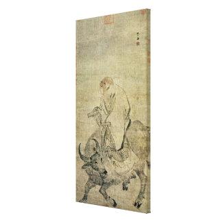 Lao-tzu que monta su buey, chino, dinastía de Ming Lona Estirada Galerias
