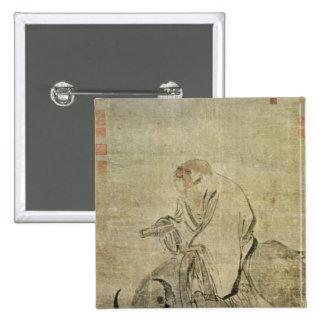 Lao-tzu que monta su buey, chino, dinastía de Ming Pin Cuadrado