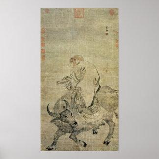 Lao-tzu que monta su buey, chino, dinastía de Ming Póster