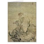 Lao-tzu que monta su buey, chino, dinastía de Ming Felicitación