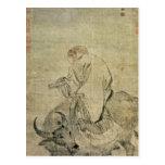 Lao-tzu que monta su buey, chino, dinastía de Ming Postales
