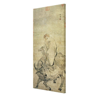 Lao-tzu  riding his ox, Chinese, Ming Dynasty Canvas Print