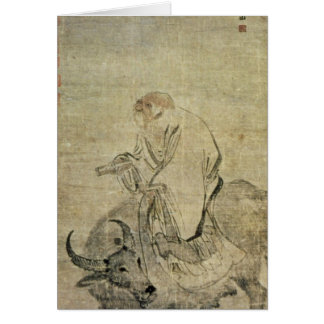 Lao-tzu  riding his ox, Chinese, Ming Dynasty Card