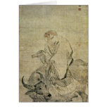 Lao-tzu  riding his ox, Chinese, Ming Dynasty Greeting Card