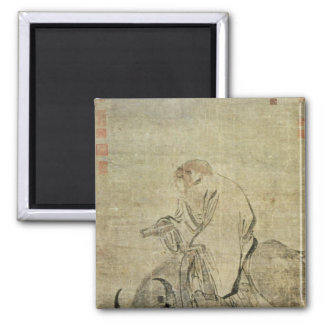 Lao-tzu  riding his ox, Chinese, Ming Dynasty 2 Inch Square Magnet