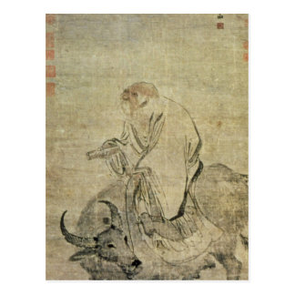 Lao-tzu  riding his ox, Chinese, Ming Dynasty Postcard