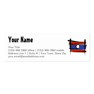 Laos Brush Flag Double-Sided Mini Business Cards (Pack Of 20)
