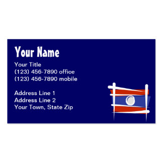 Laos Brush Flag Double-Sided Standard Business Cards (Pack Of 100)