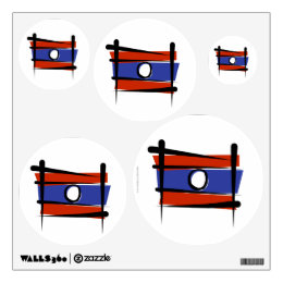 Laos Brush Flag Wall Sticker
