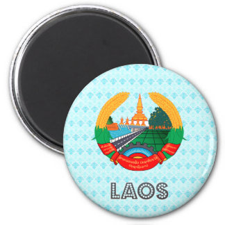 Laos Coat of Arms 2 Inch Round Magnet