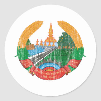 Laos Coat Of Arms Round Stickers