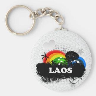 Laos con sabor a fruta lindo llavero redondo tipo pin