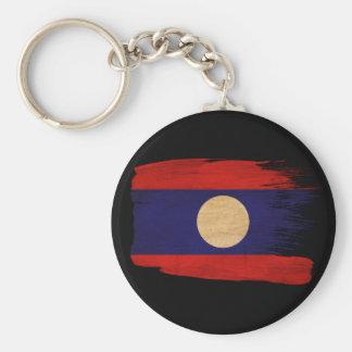 Laos Flag Basic Round Button Keychain