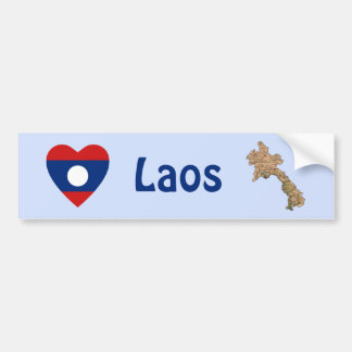 Laos Flag Heart + Map Bumper Sticker Car Bumper Sticker