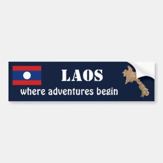 Laos Flag + Map Bumper Sticker Car Bumper Sticker