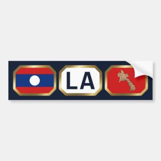 Laos Flag Map Code Bumper Sticker Car Bumper Sticker