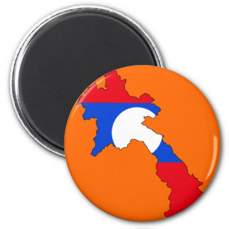 Laos flag map 2 inch round magnet