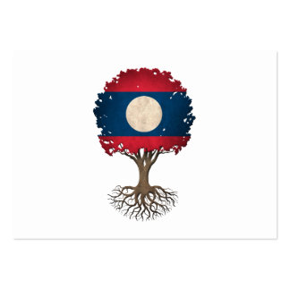 Laos Flag Tree of Life Customizable Business Card