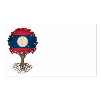 Laos Flag Tree of Life Customizable Business Card Template