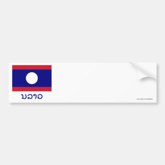 Laos Flag with Name in Lao Car Bumper Sticker