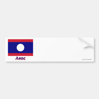 Laos Flag with name in Russian Car Bumper Sticker