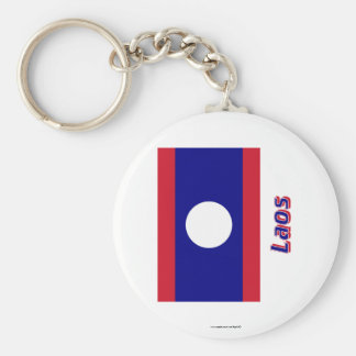 Laos Flag with Name Keychain