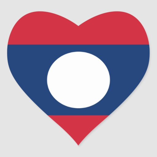 Laos Pegatina En Forma De Corazón