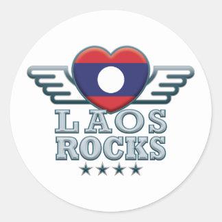 Laos Rocks v2 Round Stickers