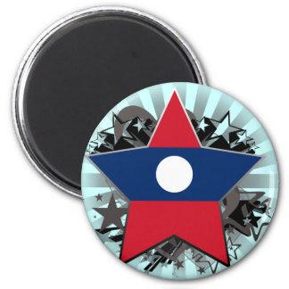 Laos Star 2 Inch Round Magnet