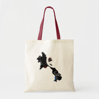 Laos Trendy Peace Sign with Laotian map Budget Tote Bag