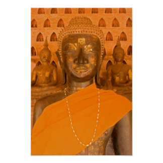 Laos, Vientián, una de 6840 imágenes de Buda adent Posters