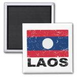 Laos Vintage Flag 2 Inch Square Magnet