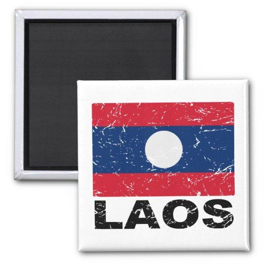 Laos Vintage Flag Magnet