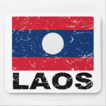 Laos Vintage Flag Mouse Pad