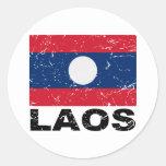 Laos Vintage Flag Round Stickers