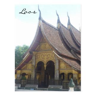 laos wat roof postcard