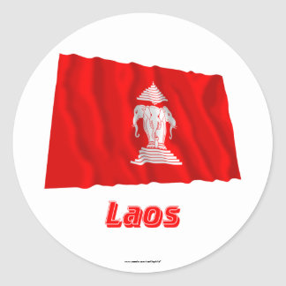 Laos Waving Flag with Name (1952-1975) Round Stickers